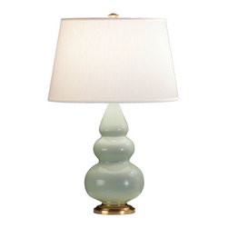 Robert Abbey - Robert Abbey Small Triple Gourd Accent Table Lamp with Brass Base 256X - Celadon Glazed Ceramic