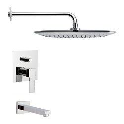 Remer - Square Modern Chrome Tub and Shower Faucet Set - Single function tub and shower faucet.