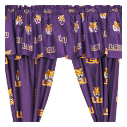 College Covers - NCAA Louisiana State Tigers Collegiate Long Window Drapes - Features: