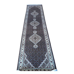 3 x 12 Hand Knotted Black Mahi Tabriz Oriental Runner Rug - A tabriz rug is a type in the general category of Iranian Carpets from the city of Tabriz.  It is one of the oldest rug weaving centers and makes a huge diversity of types of carpets.  Tabriz has one of the most diverse displays of designs from medallion, Herati/Mahi, and Mini Brothers.
