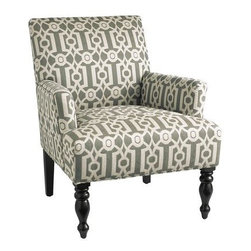 Liliana Chair, Teal Ironwork - This side chair with its neutral ironwork fabric could work in so many spaces.