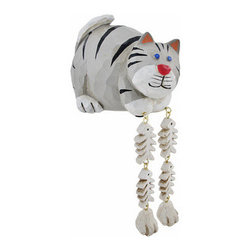 Cute Gray Cat Dangler Shelf Sitter - Add a unique accent to any shelf or desk in your home or office with this darling dangler. It features a cat with its catch of the day, and measures 4 inches tall, 5 inches long, and 3 3/4 inches wide. It is made of cold cast resin, hand painted, and finished to look as though it has been carved from wood. This piece is a great gift for feline fanatics, and is sure to start a conversation.