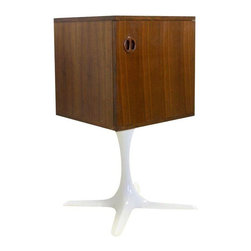 Danish Modern Side Cabinets with Propeller Base - Awesome pair of mid mod side tables - bases are not original to the cabinets, the boxes have been custom retrofitted with these bases to help with form, function and aesthetics! The boxes are in great vintage condition with wear to commensurate with age. Price is for the pair.