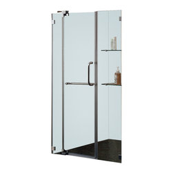Vigo - 54in.  Frameless Shower Door 3/8in.  Clear Glass Brushed Nickel Hardware - Experience fine quality combined with superior design in a VIGO frameless shower door.