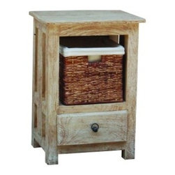 YOSEMITE HOME DECOR - 1-Drawer 1-Block Bedside Table - A great accent table for any space in the home. This cabinet features a washed sandstone finish w/metal hardware accents.  A single front drawer complete with a hand woven linen lined basket allows for ample storage space. Fits great into a living room, bedroom, sunroom or any other space in your home.  Made in India of solid mango wood for many years of service. Assembled and made in India.    Item Dimension in 18inches Width X 14inches Depth X 26inches Height