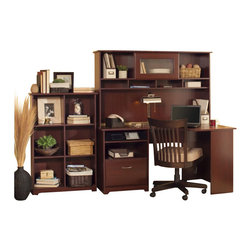 "Bush - Bush Cabot 60"" Corner Computer Desk with Hutch and Bookcase in Harvest Cherry - Bush - Computer Desks - WC3141503PKG1"