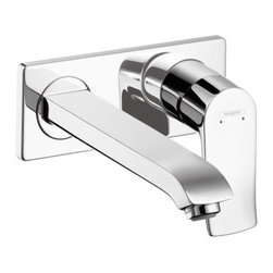 "Hansgrohe - Hansgrohe 31086001 Chrome Metris Metris Bathroom Faucet Wall Mount - Features:  All brass faucet body and handle construction Fully covered under Hansgrohe s limited lifetime warranty Hansgrohe faucets are designed and engineered in Germany Superior finishing process - finishes will resist corrosion and tarnishing through everyday use Single lever handle operation ADA compliant- complies with the standards set forth by the Americans with Disabilities Act for bathroom faucets Low lead compliant- meeting federal and state regulations for lead content Designed for use with standard U.S. plumbing connections All hardware needed for mounting is included with faucet  Specifications:  Spout Height: 2-5/8"" (measured from counter top to the spout outlet) Spout Reach: 8-7/8"" (measured from the center of the faucet base to the center of spout outlet) Mounting Type: Single hole Number of Holes Required for Installation: 2 Flow Rate: 1.5 GPM (gallons-per-minute) Metal lever handle included with faucet  Variations:   31086: This model 10020: Tall vessel version of this model with pop-up drain 31080: Single hole version of this model 31082: Vessel version of this model 31083: Widespread version of this model 31088: Single hole version of this model with escutcheon ring 31087: Single hole version of this model with side lever handle  About Hansgrohe:  Founded in Germany's Black Forest back in 1901, Hansgrohe is committed to building a strong sense of tradition. Featuring unsurpassed quality, design and performance, Hansgrohe's products offer a lifetime of satisfaction. Through many breakthroughs in comfort and technology, they bring the perfect solution you need to make the most of your w"