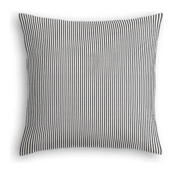 Black Ticking Stripe Custom Euro Sham - The secret to those perfectly made beds you eye in magazines? Euro shams. Complete your bed set with a set of Simple Euro Shams for a look that's as stylish as it is snuggly.  We love it in this classic traditional cotton ticking stripe in black and white.