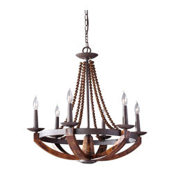 Feiss - Feiss F2749/6RI/BWD Adan 6 Light Rustic Iron Chandelier - Finish: Rustic Iron / Burnished Wood