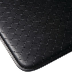 "Imprint Comfort Mats - Imprint Cumulus9 Comfort Mat 26 X 72, Black, 26"" X 72"", Nantucket - Number One Consumer Rated Anti Fatigue Comfort Mat.   Sink your feet into the Cumulus9 with its proprietary Multi-Core Technology. Feel how it conforms to the shape of your feet and supports your arches for relief of back, leg and foot discomfort. The advantage is its proprietary multilayer cushioning system. The soft, upper layer luxuriously cushions your feet while the firm, lower layer provides soothing support. You will want an Imprint Comfort Mat everywhere you work and stand _ kitchen, laundry, bathroom, garage,workshop and more. University tested and proven by the Center for Ergonomics to reduce overall fatigue and discomfort by up to 60%. No-curl edges and stay-flat memory ensure Imprint Mats will not  curl like other mats. Environmentally friendly, non-toxic and phthalate free .Safe for children and pets. 7-year warranty. 100% satisfaction guarantee."