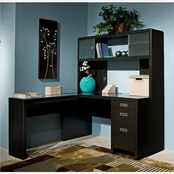 Kathy Ireland by Bush New York Skyline L-Shape Desk with Hutch Office Set in Mod