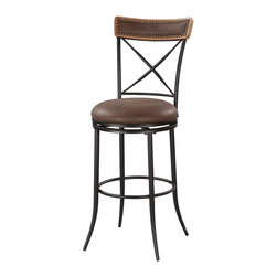"""Linon Home Decor - Linon Home Decor X Back Metal Bar Stool X-U10LTM355430 - The X Back Metal Bar Stool mixes transitional styling with contemporary appeal. The black finished stool is accented with an X designed back which is finished with a brown wood topper. The wood top has a Brown PU center that is trimmed in an antique bronze nailheads. A swivel seat is plushly upholstered in Brown PU. Thin sturdy legs complete the look. 30"""" Seat Height. 275 pound weight limit."""