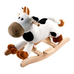 Trademark Global - Happy Trails Plush Rocking Connie Cow w Sound - Age: 3-4 years. Mooing Sounds. Requires 2 AA Batteries (Not Included). Dimensions: 25.5 in. L x 13.25 in. W x 19.75 in. HThis soft, plush Rocking Connie Cow from Happy TrailsT is sure to be your child's favorite toy. It is hand crafted with a wood core and stands on sturdy wooden rockers. It even makes mooing sounds! All with only a touch of its ear! Your little one will enjoy hours on the farm with this wonderful Plush Rocking Connie Cow from Happy Trails.