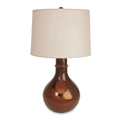 iMax - iMax Jaspa Cercury Glass Lamp X-64202 - Simply illuminating, the Jaspa mercury glass table lamp features a glass, bulb-shaped base and linen shade. The neutral color and glass construction make this lamp a gorgeous home accent that complements any decor.