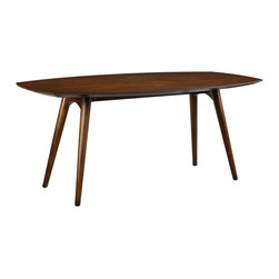 French Heritage - Dian Dining Table, Walnut Finish - A little curvy and a little leggy, this cosmopolitan table evokes mid-century fascination with aerodynamic form. Detailing on table edge provides a touch of ethnic style. - Weight: 88lbs