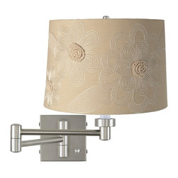 """Lamps Plus - Contemporary Tan Flower - Brushed Steel Plug-In Swing Arm Wall Lamp - This versatile swing arm wall lamp has a full-range dimmer on the base for easy light control. It comes in a contemporary brushed steel finish with a tan drum shade featuring embroidered white flowers. To install simply mount the lamp on the wall then plug the included cord into any standard wall outlet. Brushed steel finish. Tan drum shade with embroidered white flowers. Full-range dimmer. Plug-in style. Maximum 100 watt or equivalent bulb (not included). Shade is 11"""" across the top 12"""" across the bottom 8 1/2"""" on the slant. Backplate is 5"""" wide 5"""" high. Arm extends 20"""" from the wall.  Brushed steel finish.  Tan drum shade with embroidered white flowers.  Full-range dimmer.  Plug-in style.  Maximum 100 watt or equivalent bulb (not included).  Shade is 11"""" across the top 12"""" across the bottom 8 1/2"""" on the slant.  Backplate is 5"""" wide 5"""" high.  Arm extends 20"""" from the wall."""
