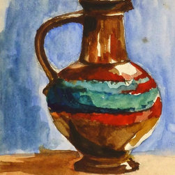 The Ceramic Pitcher, C. 1960, Painting - Original, one of a kind watercolor still life of a gleaming ceramic pitcher, circa 1960.