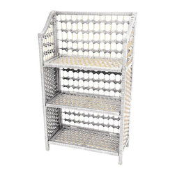 """Oriental Furniture - 33"""" Natural Fiber Shelving Unit - White - This practical small shelf unit is a great design for displaying books, framed photographs, small sculptures and collections, sized for a bed room, dorm room, or bath. Well crafted from light weight wood frames with woven spun plant fiber cord, the color is vivid and appealing. The spun fiber is interwoven with ¼"""" wood dowel, to create an extra sturdy, rattan style design. Modern American home decor is best when it is sturdy, portable, practical, and beautiful. Note that the shelves can be unhooked from the side panels to collapse the unit for shipping and storage."""