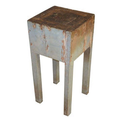 Used Primitive Petite Butcher Block Side Table - A hand-crafted butcher block with original soft blue paint and cross-patched top. This is an agrarian artifact from the 19th century. It makes a striking end table, corner table, the perfect perch for a lamp, vase of flowers, or a small sculpture. It is sturdy, solid and beautifully worn from use.