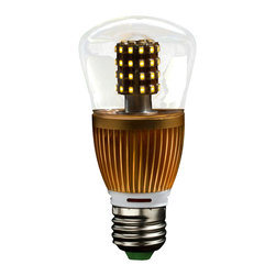 EfficientNow Inc. - Pearl60, A19-Edison LED Bulb, 6 Units, Clear, Dimmable - Pearl60 Clear A19-Edison Designer LED Bulb with SureGuard, Gold radiator, Number of Pearls: 6