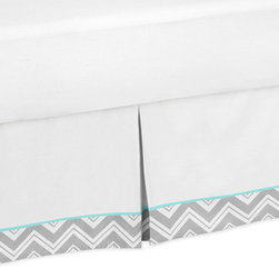Sweet Jojo Designs - Gray Turquoise ZigZag Chevron Queen Bed Skirt - Gray and Turquoise Zig Zag Queen Bed Skirt by Sweet Jojo Designs helps complete the look of your room. This skirt, or dust ruffle, adds the finishing touch while conveniently hiding under-the-bed storage. Dimensions: 59 in. x 80 in. x 14.5 in. drop.