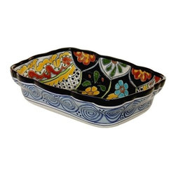 "Mexican Talavera - Mexican Talavera 13-1/2"" Rectangular Server, Design D - Mexican Talavera 13-1/2"" Rectangular Server"
