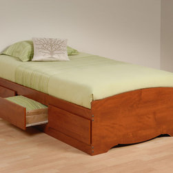 "Prepac - Cherry Twin Mate's Platform Storage Bed with 3 Drawers - The Twin Mate's Platform Storage Bed with 3 Drawers does double duty as a bed and dresser. With three generously sized drawers for keeping your linens, blankets and clothes, this bed provides space-saving storage for even the smallest bedroom. No need for a box spring, either: its slat support system only requires a mattress. Position the drawers on either the right or left side of the bed, depending on the layout of your room, and watch your floor space grow!; Suitable for twin-sized mattresses; Sturdy drawers with solid wood sides glide on metal runners with built-in safety stops; Finger pulls at the bottom of each drawer front for easy opening; Three 18"" deep drawers can be positioned on either side of the bed; Wood slats positioned length-wise distribute body weight evenly to ensure a good night's sleep; Finished in durable warm cherry laminate; Constructed from CARB-compliant, laminated composite woods; Ships Ready to Assemble, includes an instruction booklet for easy assembly and has a 5-year manufacturer's limited warranty on parts; Proudly manufactured in North America; Total Weight Capacity: 250 lbs; Dimensions: Assembled Dimensions: 41""W x 18.75""H x 76.5""D; Internal Drawer Dimensions: 21.5""W x 5""H x 18""D"