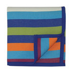 Ark Group/Bocasa - Ark Group/Bocasa Sunrise Multi-Blue Throw Blanket - Bocasa Sunrise Multi-Blue Throw Blanket. Give your casa a super-comfortable feel with the Sunrise Multi-Blue Throw Blanket from Bocasa. Woven from a durable cotton blend, this luxuriously soft blanket has a lively stripe design. The cheerful palette of blue, green, orange, and plum feels is totally fun, so you can use it for an impromptu picnic or for summer nights out on the patio. Toss it over the arm of a sofa or drape it over the foot of a bed to add a splash of color to any room. Now su casa is totally cozy!Durable cotton blend with velour bindingMade in Germany