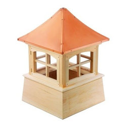 Good Directions Windsor Wood Cupola - The Good Directions Windsor Wood Cupola lets you add an elegant accent to your home's roof or guesthouse. This charming cupola features a base made from solid wood planks and boards and features a square window design. The base comes ready to paint and is available primed or unprimed. Thick 24-gauge copper protects the roof, keeping it safe from elements and providing a perch for a weatherwave or finial. 22, 26, 30, 36, 42, 48, 54, 60, 72, and 84-inch square units are available to choose from. Instructions for mounting the unit are included. Mounting hardware for a weathervane attachment is also included.About Good DirectionsGood Directions got its start by creating weathervanes and cupolas, but it has expanded its line to include a wide range of decorative yet functional products for the home and garden, including popular Fire Domes, rain chains, and garden weathervanes. The company continues to attract innovative artists and designers eager to lend their vision to the creation of exceptional products to enhance the home, both indoors and out. No matter which way the wind blows, you can count on Good Directions to show you the way to a beautiful home.