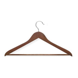 Honey Can Do - Basic Suit Hanger with Non-slip Bar in Cherry - Streamlined shape. Keeps clothing looking freshly-pressed. Non-slip bar. Keeps pants in place. Limited lifetime warranty. 17.5 in. L x 0.45 in. W x 9.35 in. H (1.12 lbs.)Honey-Can-Do HNG-01207 4-Pack Suit Hanger, Cherry. Beautiful, wooden clothes hanger has a contoured design perfect for keeping shirts, dresses, and jackets wrinkle-free. Features a 360 degree swivel rod hook to hang items easily on any closet rod, towel bar, or standard size door. Non-slip pant bar holds fabrics perfectly in place. A gorgeous upgrade for any closet space.