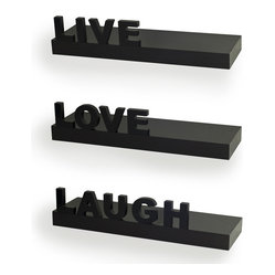 "Decorative ""Live"" ""Love"" ""Laugh"" Wall Shelves, Set of 3"