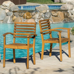 None - Romano Outdoor Acacia Wood Armchair (Set of 2) - Enjoy the outdoors with the Romano acacia wood armchairs. These chairs are perfect for any outdoor patio or sitting space and will provide comfort and aesthetic appeal as you entertain,eat,read,or just hang out with all that nature has to offer.