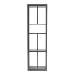 """Euro Style - Euro Style Ryn Shelving Unit 09820GRY - 72"""" tall or 72"""" wide. An incredibly clever vertical showcase or a convenient and versatile media stand. In gray or white lacquer."""