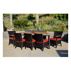 Arbor 9-Piece Modern Patio Dining Set, Henna Cushions