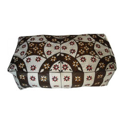Moroccan Leather Bench Pouf | Moroccan Arabian Style Pouf -