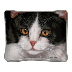 100-Black & White Cat Pillow - Everything you're looking for when it comes to a quality, decorative pillow.  Suited inside on your living room sofa or propped on an outdoor patio bench. Silkscreened on 100% cotton canvas, filled with polyfil, trimmed with coordinated gray cotton cording.