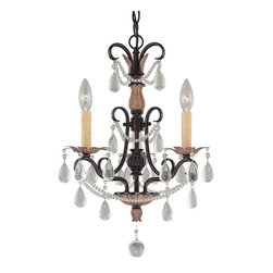 "Frontgate - Bronzewood 3-light Mini Chandelier - 3-arm chandelier provides superior ambient lighting. Distressed bronze finish adds vintage character. Accented with glass crystals. 72"" chain and cord can be adjusted to fit any ceiling height. Requires three 60W candelabra base lamps (not included). Beautify a small space with the elegant Bronzewood Chandelier. Faceted crystal pendants and beads glisten in the ambient glow of this 3-light fixture. Bronzewood lends an unexpected touch of glamour in a breakfast nook, entry way, or small office.. . . . Hardwire; professional installation recommended. . Clean with a soft cloth."