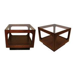 John Keal for Brown Saltman Side Tables - A Pair - Dimensions 18.0ʺW × 18.0ʺD × 15.5ʺH