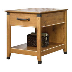 Sauder - Sauder Registry Row Smartcenter Side Table in Amber Pine - Sauder - End Tables - 413080