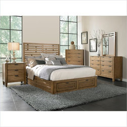 Broyhill Ember Grove Storage Bed 5 Pc Bedroom Set in Weathered-Khaki - Broyhill Ember Grove Panel Footboard Storage Bed in Weathered-Khaki