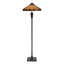 Quoizel - Quoizel TF885F Stephen Tiffany Floor Lamp - This handcrafted Tiffany style collection illuminates your home with warm shades of amber, bisque and earthy green, arranged in a clean and simple geometric pattern reminiscent of the works of Frank Lloyd Wright.  The sturdy base complements the Arts & Crafts style, and is finished in a vintage bronze patina.