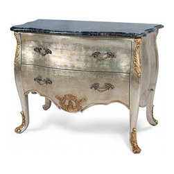Alden Parkes - Chest Bombe - This elegant Bombe Chest features an Antique Silver Leaf finish with gold leaf accents.  The exquisite antiqued hand cast brass pulls and black marble top allow this accent chest to make a dramatic, yet timeless, addition to your home.