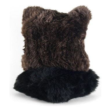 Sheepskin Pillow - Naturally, luxurious throw pillow in brushed longwool sheepskin with a feather and down insert and hidden zipper closure. Choose from Jet Black or Chestnut Brown.