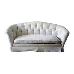 "Baker Furniture Hollywood Regency Tufted Sofa - A beautiful creamy off-white sofa manufactured by super high end furniture manufacturer Baker! The sofa has a tone on tone ""leaves"" pattern and features down stuffing in the cushions. Super comfortable!  Please note that measurements taken at longest, deepest, tallest points of this curvy sofa."