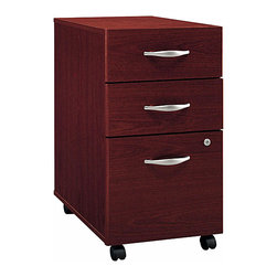 Bush Business - Castered File Cabinet w 3 Drawers - Series C - Dual functioning three-drawer file cabinets are worth their weight in gold.  Spacious vertical hanging folder space is below while computer accessories and office supplies are stashed above.  Casters add versatility for this beautifully finished case that can roll under a desk.  This stylish Three-Drawer File in Mahogany provides a trio of file drawers utilizing full extension, ball-bearing slides.  Professional file cabinet is great for your home or corporate office. * Rolls under any Series C desk shell. File drawer holds letter, legal or A4 files. Fully finished drawer interiors. File drawer extends on full extension, ball-bearing slides. One lock secures bottom two drawers. Ships ready for easy assembly. 15.709 in. W x 20.276 in. D x 28.110 in. H