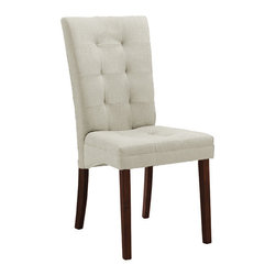 "Wholesale Interiors - Anne Beige Fabric Modern Dining Chair - Though decidedly designed for an informal dining room furniture arrangement, your favorite decor easily brings this chair up the ranks to being worthy for an elegant dinner party. Our Anne Dining Chair is made with a beautiful neutral beige twill fabric in a panel-stitched, button-free tufted design. The solid wood legs are finished in a deep, dark brown stain. Finishing off your new contemporary dining chair is a foam cushion. Made in Malaysia, assembly is required. Spot clean only. Overall Dimensions: 38""D x 18""D x 24.4""H"