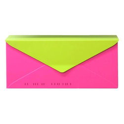 HouseArt No. 10 Letterbox Wall-Mount Mailbox, Bougainvillea Pink/Key Lime - This wall-mounted mailbox is constructed from sheet aluminum and is available in funky hand-finished powder-coat colors like this bougainvillea pink and key lime.