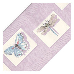 Blue Mountain Wallcoverings - Lavender Purple Bugs Wallpaper Accent Border Roll - FEATURES: