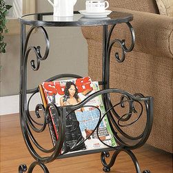 None - Crystal Metal and Glass Magazine Rack - Display your literature and decorative items in style with this graceful end table magazine rack. Made of durable metal and classy glass, this beautiful rack with a refined black finish is designed to add function and sophistication to any home decor.