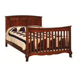 Chelsea Home - Convertible Crib Set in Amber Stain Finish - Mattress not included. Solid wood 3-stage bed system. Paneled backboard detail and curved embellishment at the base and feet. Adjustable with age and size of the child. Guard rail and 3-level mattress support. Conform to the consumer product safety commission (CPSC) 16CFR1219 and ASTM F1169-10A standards. Up to date with all regulations tested through certified third party labs. Constructed with quality and durability. Mortise and tenon brown maple wood joint. Assembly required. Crib: 56 in. L x 32 in. W x 44 in. H (100 lbs.). Toddler rail: 51 in. L x 1 in. W x 4 in. H (10 lbs.). Full size rails: 76 in. L x 1 in. W x 7 in. H (20 lbs.)Chelsea Home Furniture proudly offers heirloom quality furniture, custom made for you. What makes heirloom quality furniture? Its knowing how to turn a house into a home. Its creating memories. Its ensuring the furniture you buy today will still be the same 100 years from now! Every piece of furniture in our collection is built by expert furniture artisans with a standard of superiority that is unmatched by mass-produced composite materials imported from Asia or produced domestically. Many pieces are signed by the craftsman that produces them, as these artisans are proud of the work they do! In addition, our craftsmen use tongue-in-groove construction, and screws instead of nails during assembly and dovetailing both painstaking techniques that are hard to come by in todays marketplace. So adorn your home with a piece of furniture that will be future history, an investment that will last a lifetime.